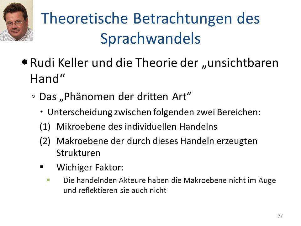 Theoretische Betrachtungen des Sprachwandels Rudi Keller und die Theorie der unsichtbaren Hand Das Phänomen der dritten Art Unterscheidung zwischen fo