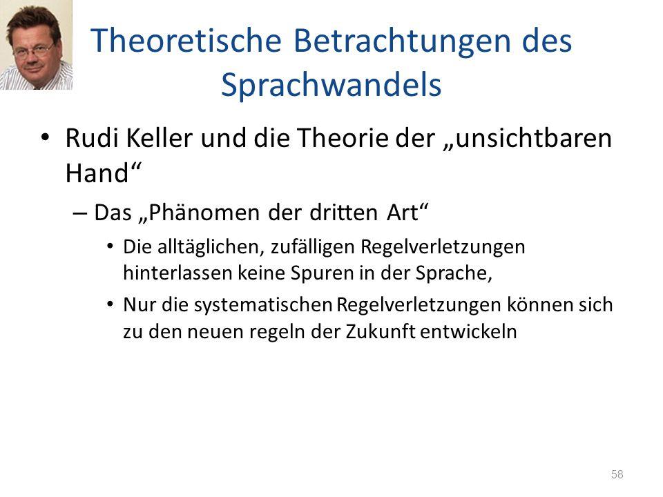 Theoretische Betrachtungen des Sprachwandels Rudi Keller und die Theorie der unsichtbaren Hand – Das Phänomen der dritten Art Die alltäglichen, zufäll