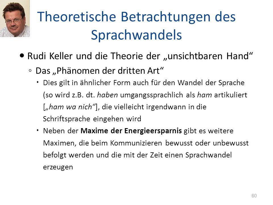 Theoretische Betrachtungen des Sprachwandels Rudi Keller und die Theorie der unsichtbaren Hand Das Phänomen der dritten Art Dies gilt in ähnlicher For
