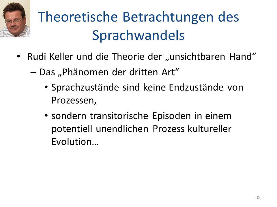 Theoretische Betrachtungen des Sprachwandels Rudi Keller und die Theorie der unsichtbaren Hand – Das Phänomen der dritten Art Sprachzustände sind kein