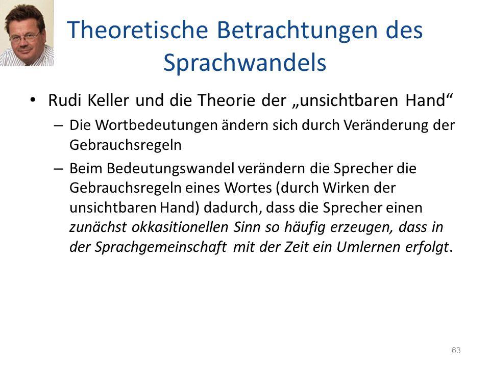 Theoretische Betrachtungen des Sprachwandels Rudi Keller und die Theorie der unsichtbaren Hand – Die Wortbedeutungen ändern sich durch Veränderung der
