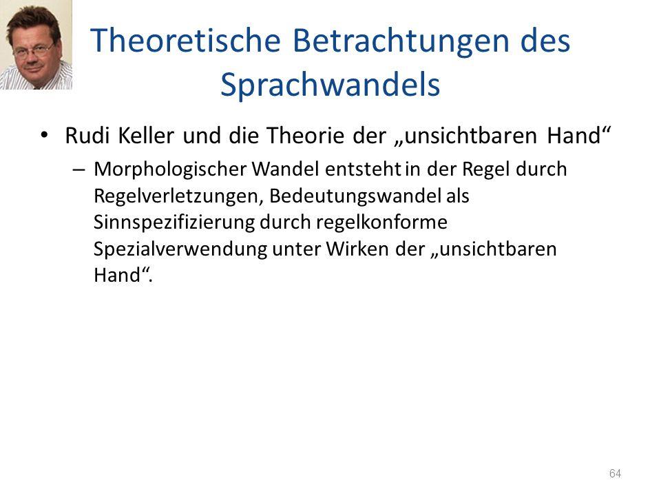 Theoretische Betrachtungen des Sprachwandels Rudi Keller und die Theorie der unsichtbaren Hand – Morphologischer Wandel entsteht in der Regel durch Re