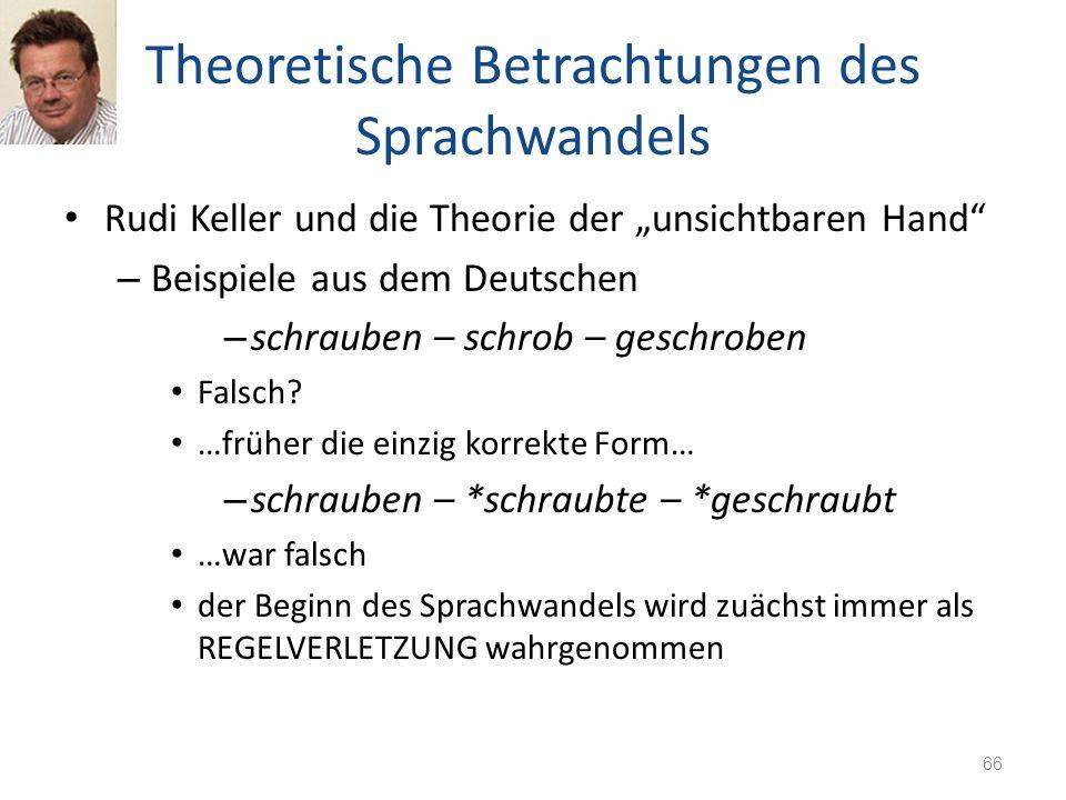 Theoretische Betrachtungen des Sprachwandels Rudi Keller und die Theorie der unsichtbaren Hand – Beispiele aus dem Deutschen – schrauben – schrob – ge