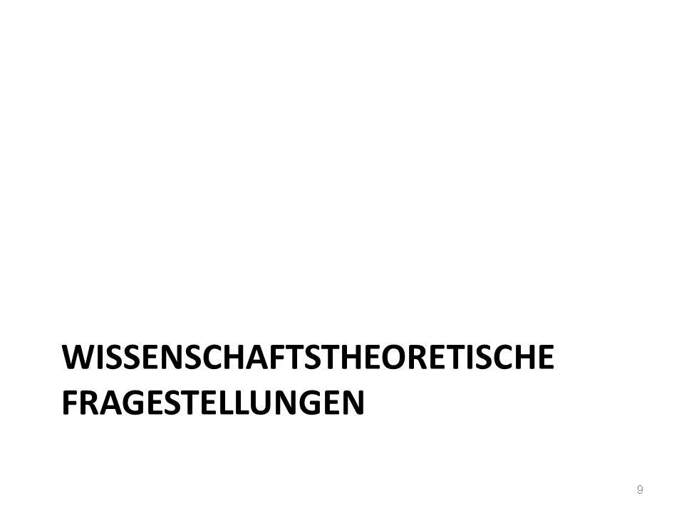 WISSENSCHAFTSTHEORETISCHE FRAGESTELLUNGEN 9