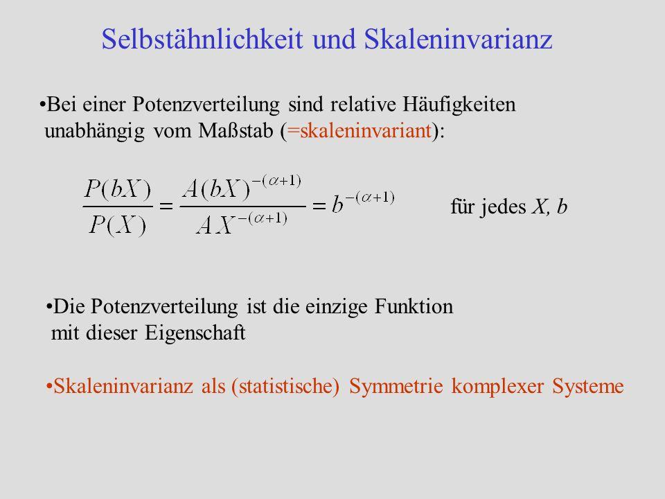 Selbstähnlichkeit und Skaleninvarianz Bei einer Potenzverteilung sind relative Häufigkeiten unabhängig vom Maßstab (=skaleninvariant): für jedes X, b