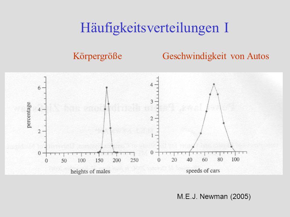 Selbstähnlichkeit und Skaleninvarianz Bei einer Potenzverteilung sind relative Häufigkeiten unabhängig vom Maßstab (=skaleninvariant): für jedes X, b Die Potenzverteilung ist die einzige Funktion mit dieser Eigenschaft Skaleninvarianz als (statistische) Symmetrie komplexer Systeme