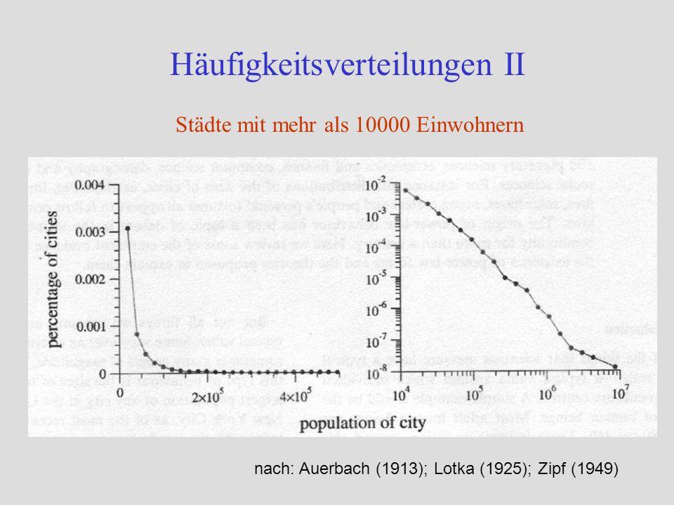 Häufigkeitsverteilungen II nach: Auerbach (1913); Lotka (1925); Zipf (1949) Städte mit mehr als 10000 Einwohnern