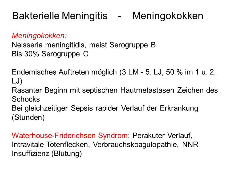 Bakterielle Meningitis - Erreger - Verlauf Pneumokokken: Nach Luftwegsinfektion, metastatische bei Otitis, Mastoiditis, Pneumonie oder als Sepsis (cave Splenektomie!) Langsamer, zäher Verlauf, auch nach adäquater Behandlung Verlauf erst nach Tagen klar.