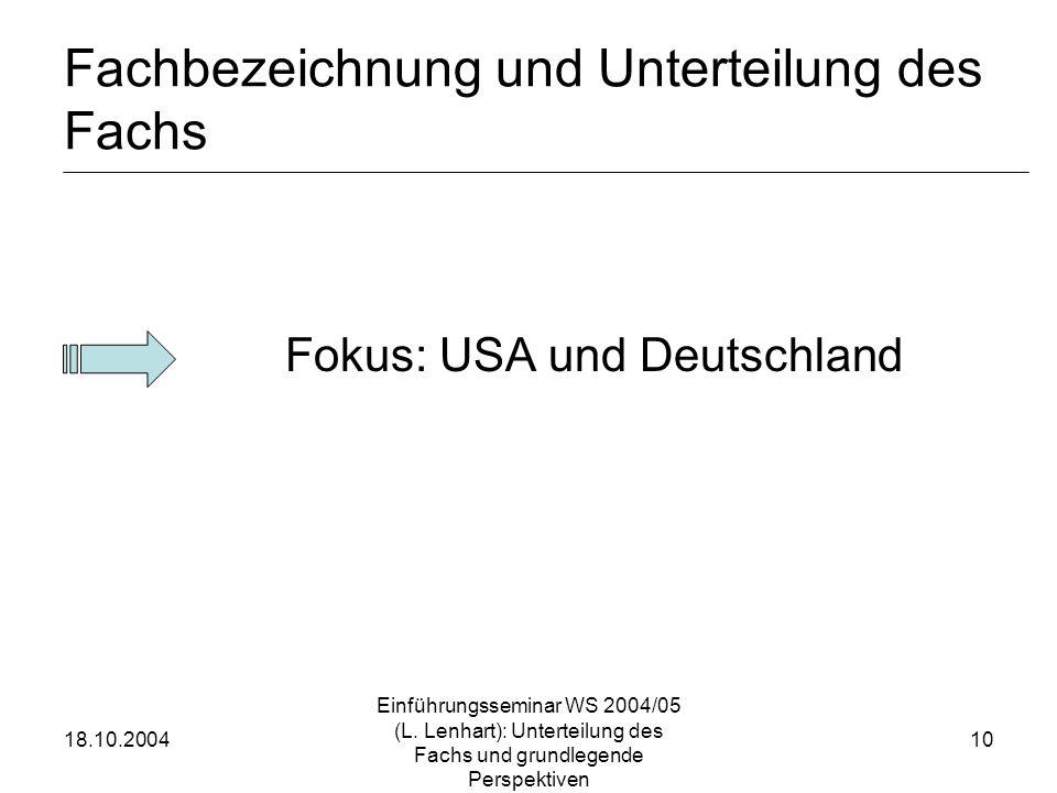 18.10.2004 Einführungsseminar WS 2004/05 (L. Lenhart): Unterteilung des Fachs und grundlegende Perspektiven 10 Fachbezeichnung und Unterteilung des Fa