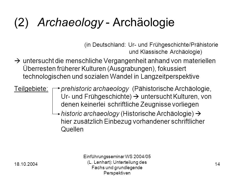 18.10.2004 Einführungsseminar WS 2004/05 (L. Lenhart): Unterteilung des Fachs und grundlegende Perspektiven 14 (2)Archaeology - Archäologie (in Deutsc