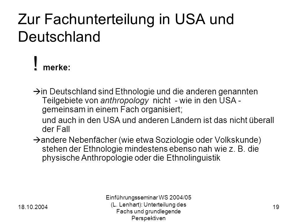 18.10.2004 Einführungsseminar WS 2004/05 (L. Lenhart): Unterteilung des Fachs und grundlegende Perspektiven 19 Zur Fachunterteilung in USA und Deutsch