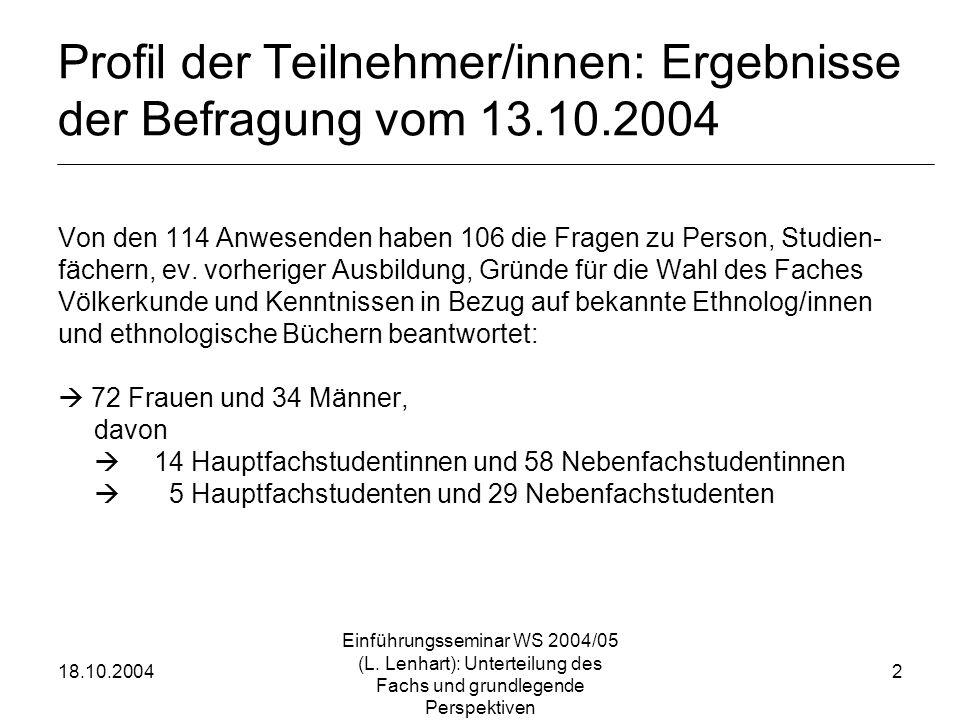 18.10.2004 Einführungsseminar WS 2004/05 (L. Lenhart): Unterteilung des Fachs und grundlegende Perspektiven 2 Profil der Teilnehmer/innen: Ergebnisse