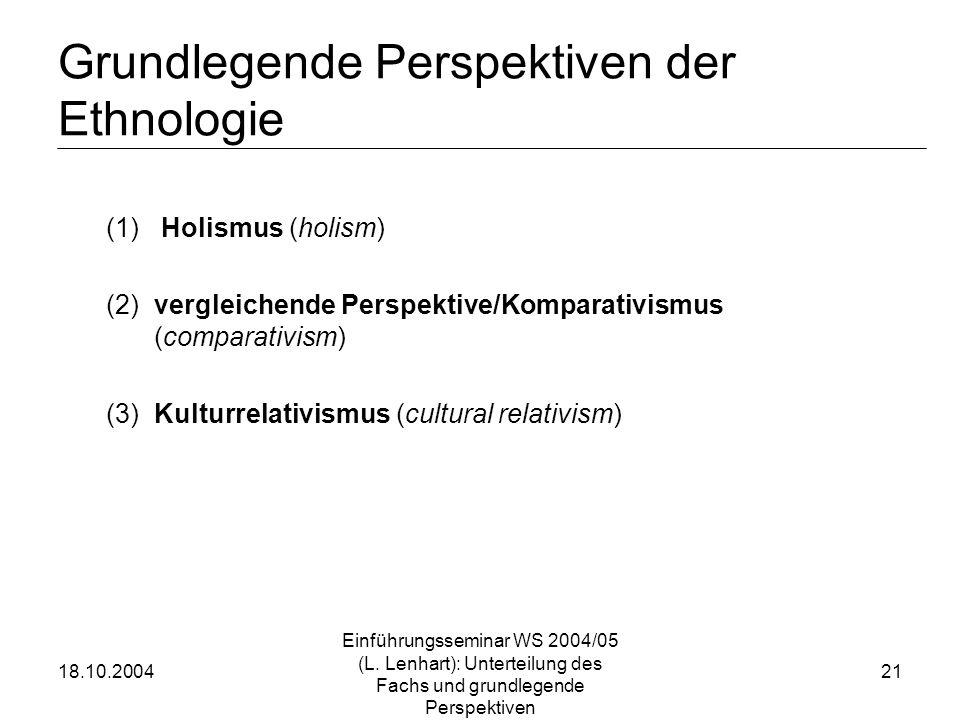 18.10.2004 Einführungsseminar WS 2004/05 (L. Lenhart): Unterteilung des Fachs und grundlegende Perspektiven 21 Grundlegende Perspektiven der Ethnologi