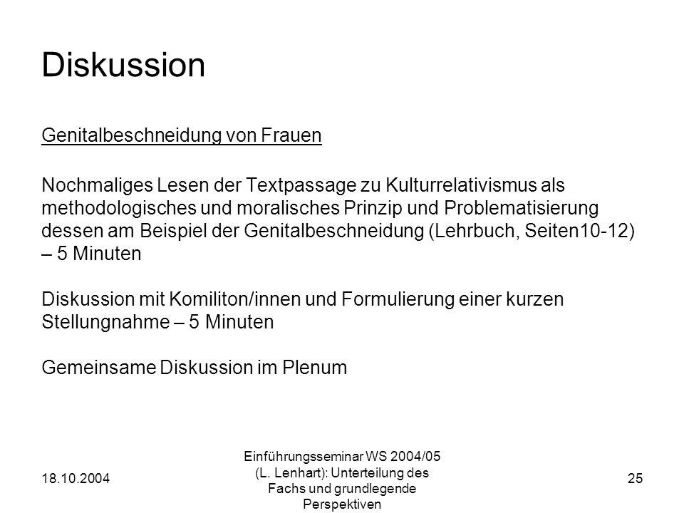 18.10.2004 Einführungsseminar WS 2004/05 (L. Lenhart): Unterteilung des Fachs und grundlegende Perspektiven 25 Diskussion Genitalbeschneidung von Frau
