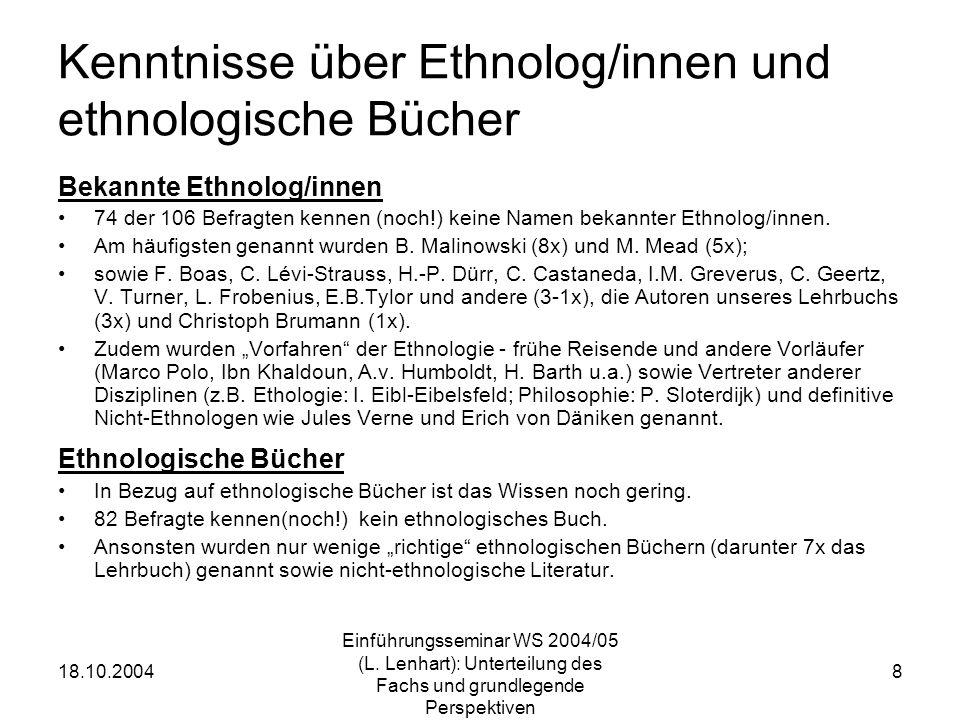 18.10.2004 Einführungsseminar WS 2004/05 (L. Lenhart): Unterteilung des Fachs und grundlegende Perspektiven 8 Kenntnisse über Ethnolog/innen und ethno
