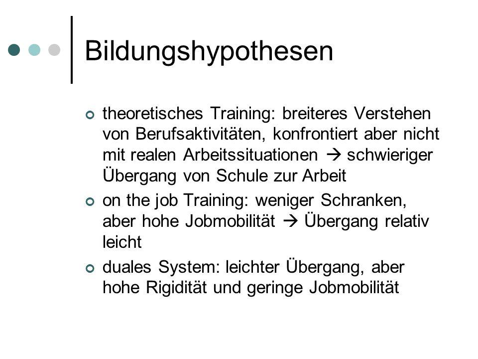 Bildungshypothesen theoretisches Training: breiteres Verstehen von Berufsaktivitäten, konfrontiert aber nicht mit realen Arbeitssituationen schwierige