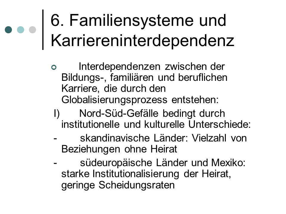 6. Familiensysteme und Karriereninterdependenz Interdependenzen zwischen der Bildungs-, familiären und beruflichen Karriere, die durch den Globalisier