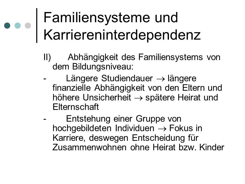 Familiensysteme und Karriereninterdependenz II)Abhängigkeit des Familiensystems von dem Bildungsniveau: - Längere Studiendauer längere finanzielle Abh