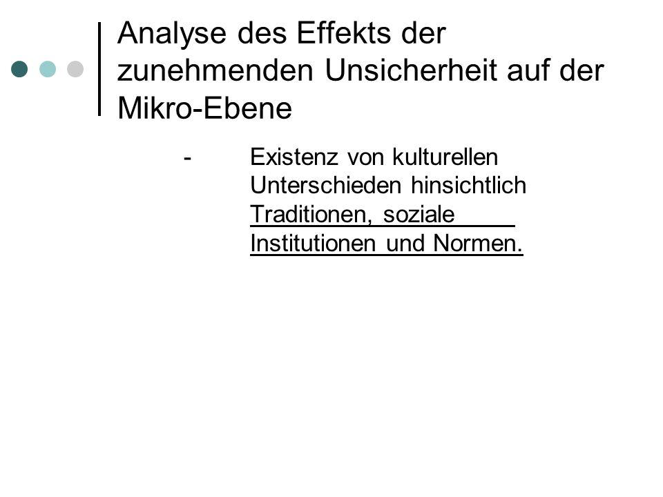 Analyse des Effekts der zunehmenden Unsicherheit auf der Mikro-Ebene -Existenz von kulturellen Unterschieden hinsichtlich Traditionen, soziale Institutionen und Normen.