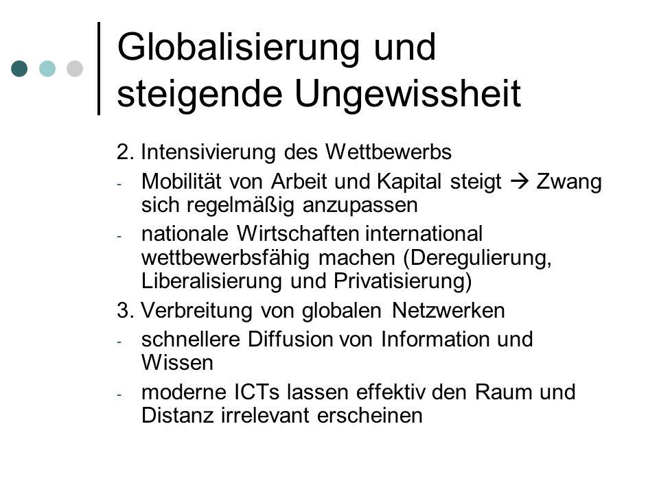 Globalisierung und steigende Ungewissheit 2. Intensivierung des Wettbewerbs - Mobilität von Arbeit und Kapital steigt Zwang sich regelmäßig anzupassen