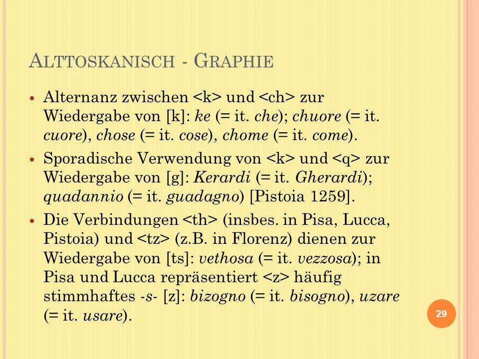 A LTTOSKANISCH - G RAPHIE Alternanz zwischen und zur Wiedergabe von [k]: ke (= it.