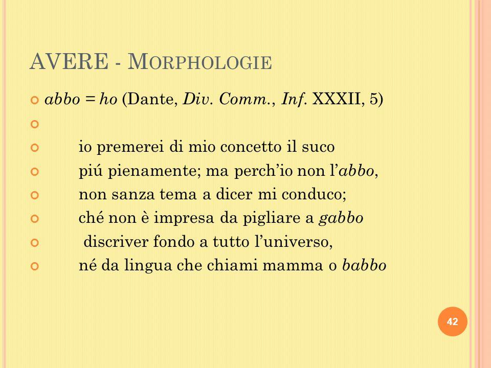 AVERE - M ORPHOLOGIE abbo = ho (Dante, Div. Comm., Inf.