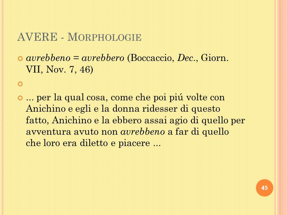 AVERE - M ORPHOLOGIE avrebbeno = avrebbero (Boccaccio, Dec., Giorn.