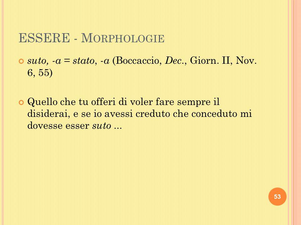 ESSERE - M ORPHOLOGIE suto, -a = stato, - a (Boccaccio, Dec., Giorn.