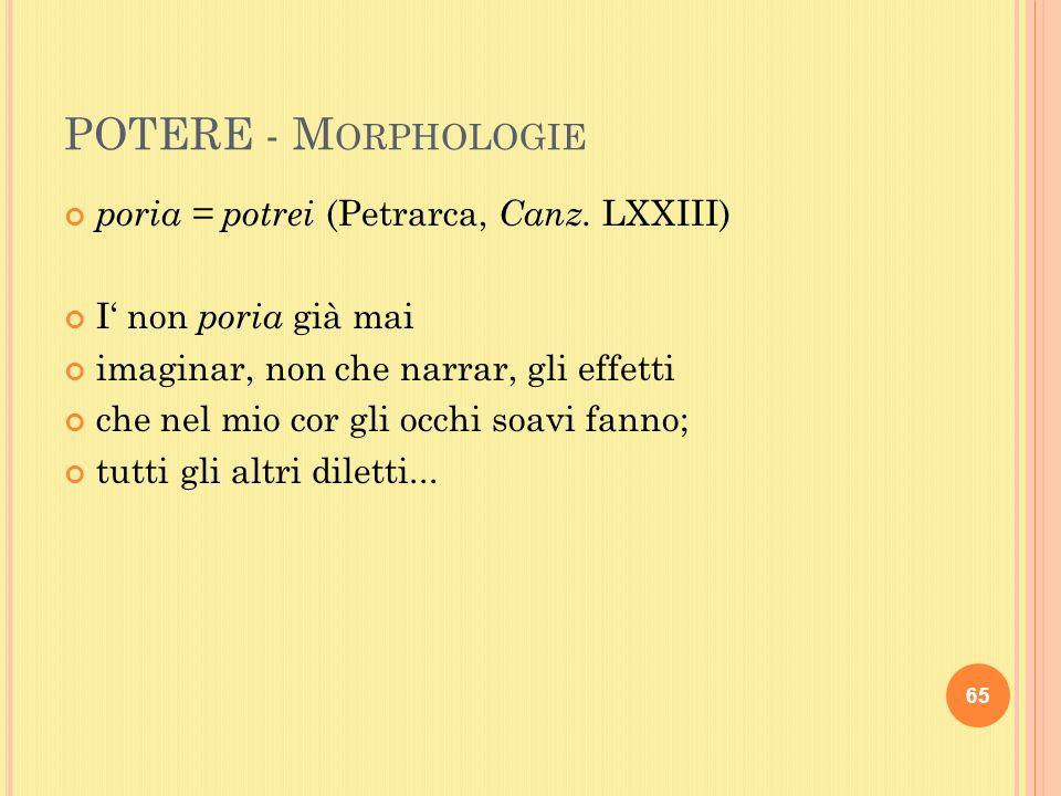 POTERE - M ORPHOLOGIE poria = potrei (Petrarca, Canz.