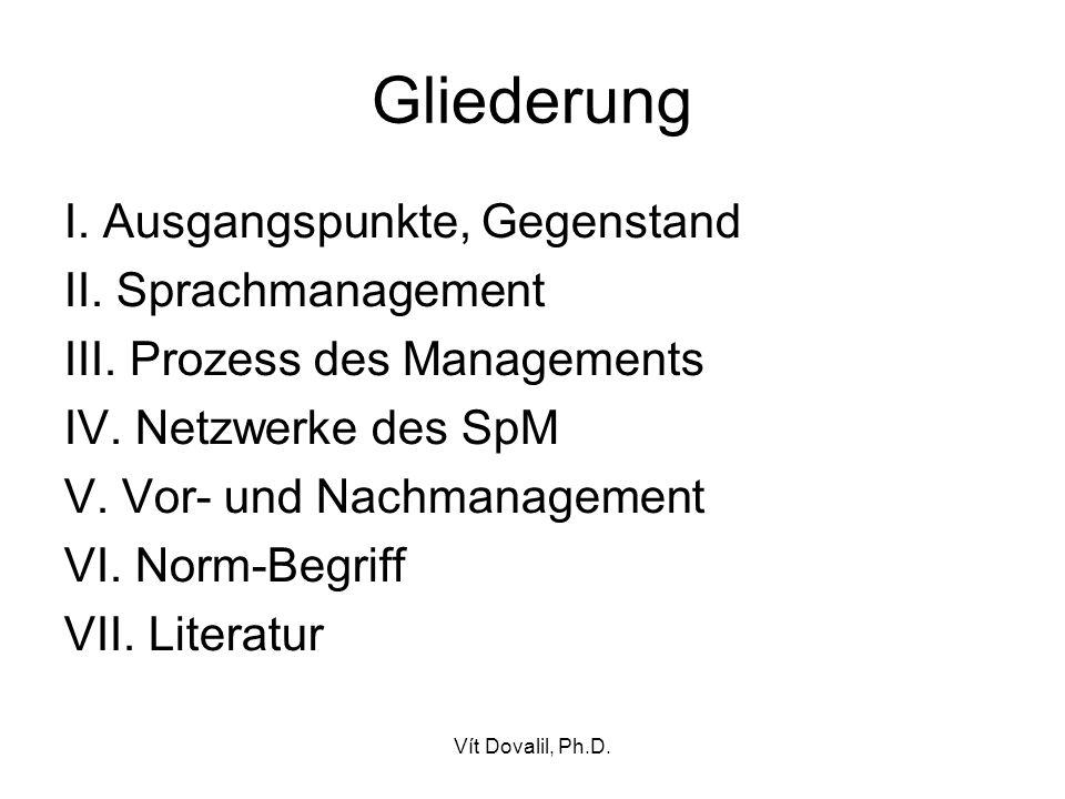 Gliederung I. Ausgangspunkte, Gegenstand II. Sprachmanagement III. Prozess des Managements IV. Netzwerke des SpM V. Vor- und Nachmanagement VI. Norm-B