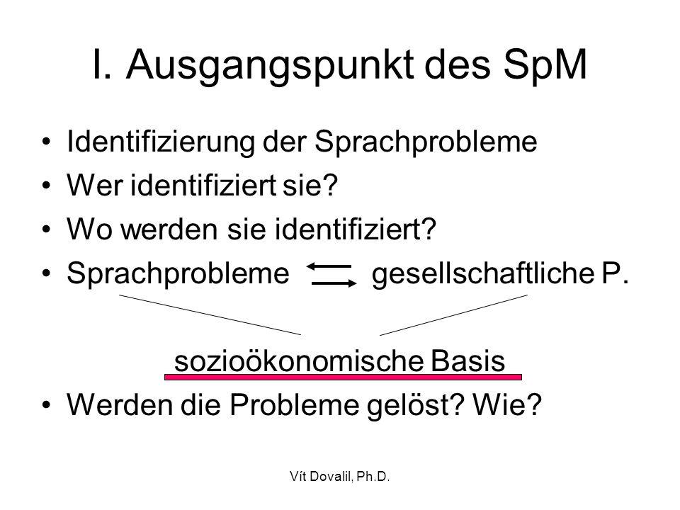 Vít Dovalil, Ph.D. I. Ausgangspunkt des SpM Identifizierung der Sprachprobleme Wer identifiziert sie? Wo werden sie identifiziert? Sprachprobleme gese