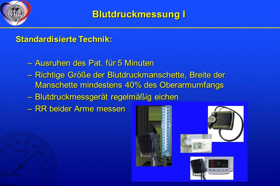 Blutdruckmessung I Standardisierte Technik: –Ausruhen des Pat.