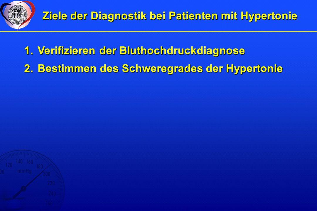 Ziele der Diagnostik bei Patienten mit Hypertonie 1.Verifizieren der Bluthochdruckdiagnose 2.Bestimmen des Schweregrades der Hypertonie