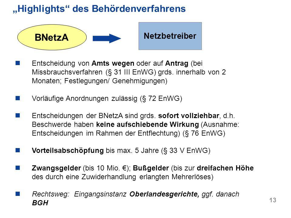 13 Highlights des Behördenverfahrens BNetzA Netzbetreiber Entscheidung von Amts wegen oder auf Antrag (bei Missbrauchsverfahren (§ 31 III EnWG) grds.