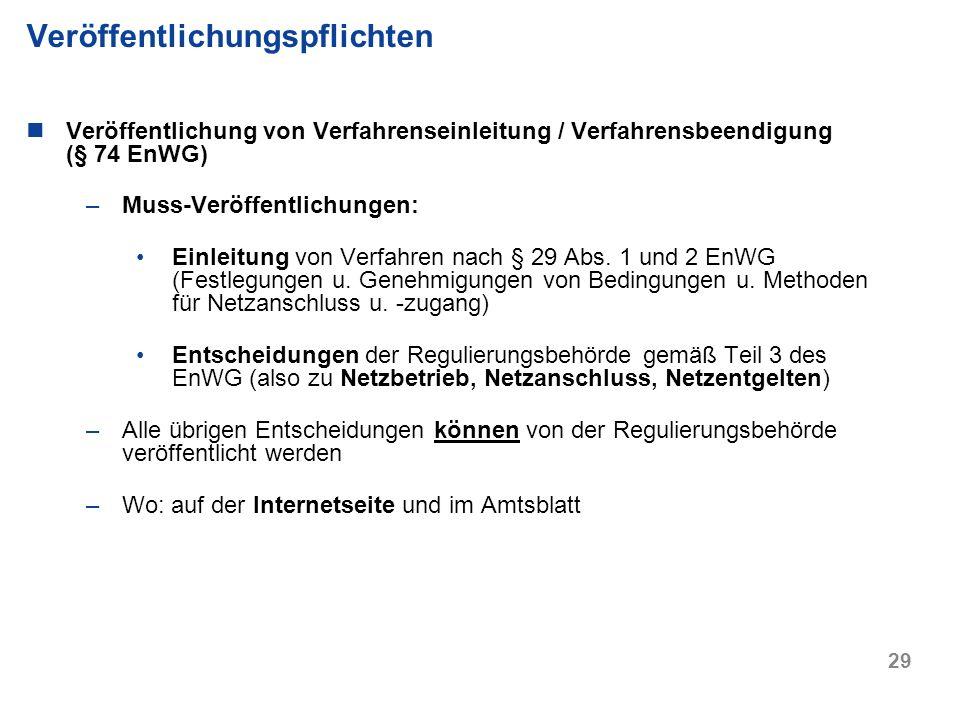 29 Veröffentlichung von Verfahrenseinleitung / Verfahrensbeendigung (§ 74 EnWG) –Muss-Veröffentlichungen: Einleitung von Verfahren nach § 29 Abs. 1 un