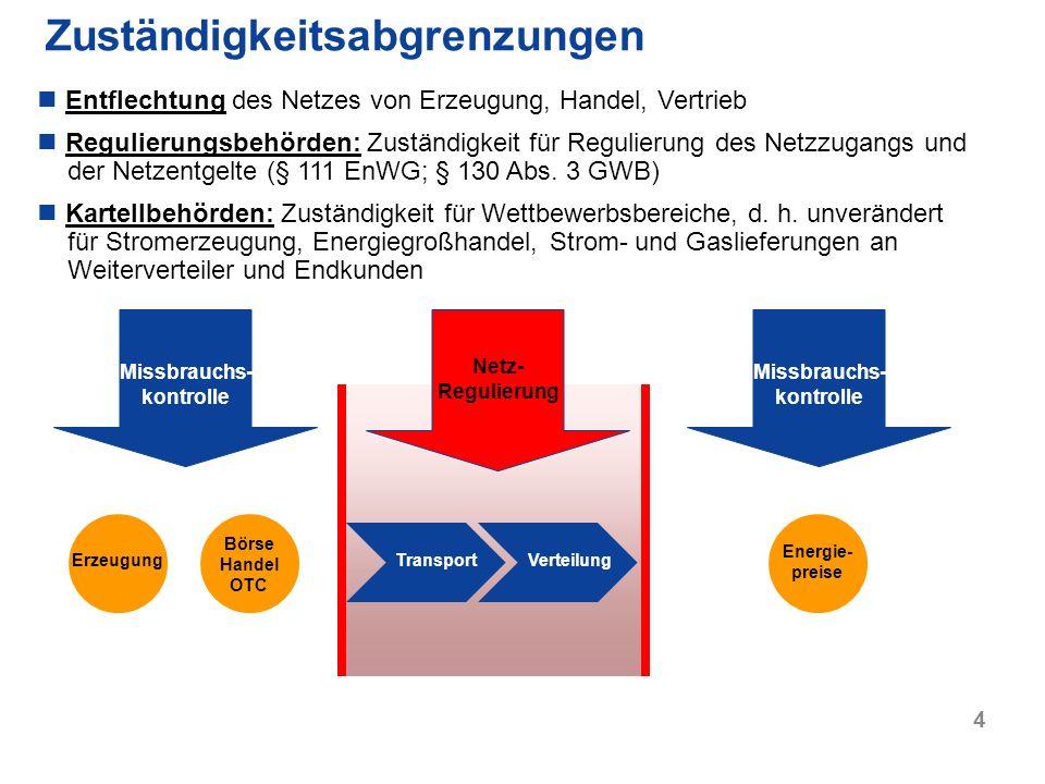 4 Zuständigkeitsabgrenzungen Erzeugung Börse Handel OTC TransportVerteilung Entflechtung des Netzes von Erzeugung, Handel, Vertrieb Regulierungsbehörd