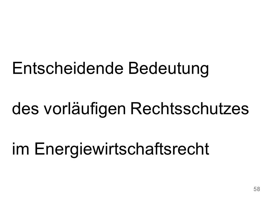 58 Entscheidende Bedeutung des vorläufigen Rechtsschutzes im Energiewirtschaftsrecht