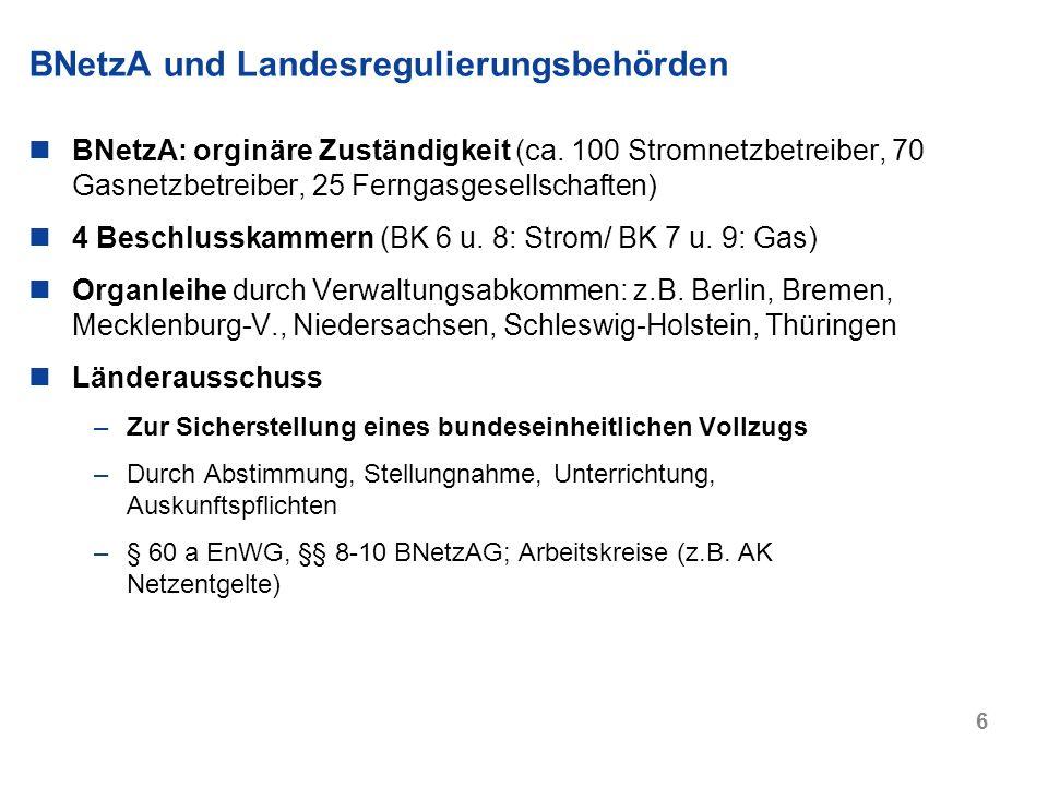 6 BNetzA und Landesregulierungsbehörden BNetzA: orginäre Zuständigkeit (ca. 100 Stromnetzbetreiber, 70 Gasnetzbetreiber, 25 Ferngasgesellschaften) 4 B