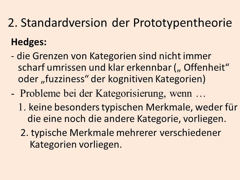 2. Standardversion der Prototypentheorie Hedges: - die Grenzen von Kategorien sind nicht immer scharf umrissen und klar erkennbar ( Offenheit oder fuz