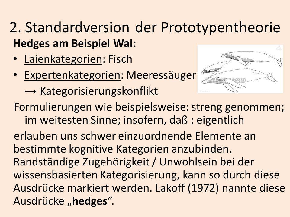 2. Standardversion der Prototypentheorie Hedges am Beispiel Wal: Laienkategorien: Fisch Expertenkategorien: Meeressäuger Kategorisierungskonflikt Form