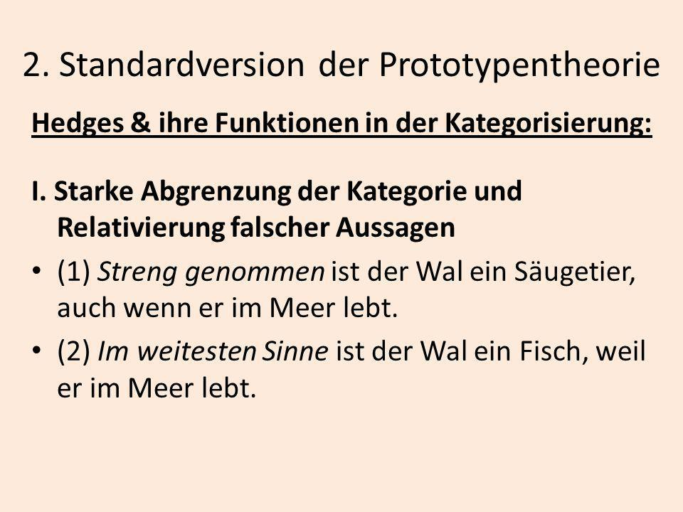 2. Standardversion der Prototypentheorie Hedges & ihre Funktionen in der Kategorisierung: I. Starke Abgrenzung der Kategorie und Relativierung falsche