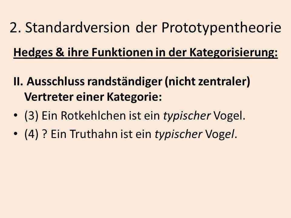 2. Standardversion der Prototypentheorie Hedges & ihre Funktionen in der Kategorisierung: II. Ausschluss randständiger (nicht zentraler) Vertreter ein