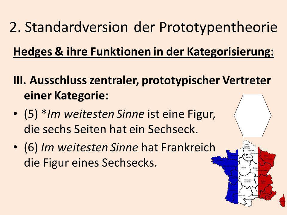 2. Standardversion der Prototypentheorie Hedges & ihre Funktionen in der Kategorisierung: III. Ausschluss zentraler, prototypischer Vertreter einer Ka