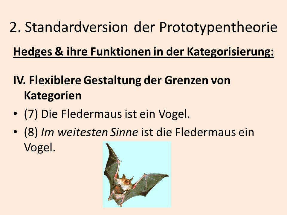 2. Standardversion der Prototypentheorie Hedges & ihre Funktionen in der Kategorisierung: IV. Flexiblere Gestaltung der Grenzen von Kategorien (7) Die