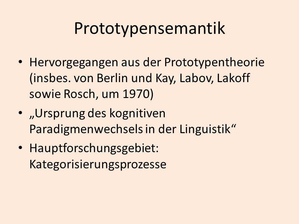 Prototypensemantik Hervorgegangen aus der Prototypentheorie (insbes. von Berlin und Kay, Labov, Lakoff sowie Rosch, um 1970) Ursprung des kognitiven P