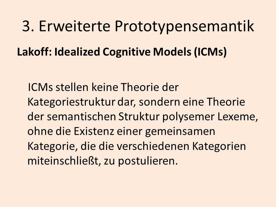 3. Erweiterte Prototypensemantik Lakoff: Idealized Cognitive Models (ICMs) ICMs stellen keine Theorie der Kategoriestruktur dar, sondern eine Theorie