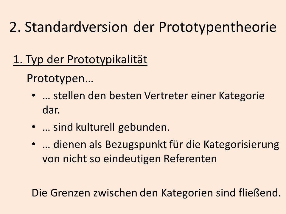 2. Standardversion der Prototypentheorie 1. Typ der Prototypikalität Prototypen… … stellen den besten Vertreter einer Kategorie dar. … sind kulturell