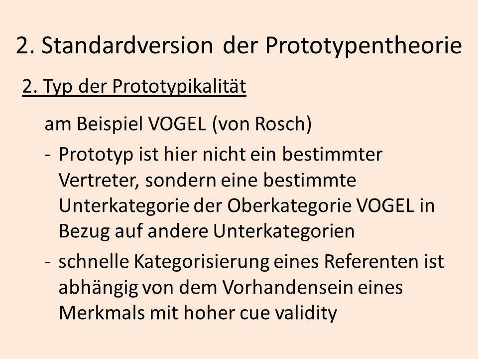 2. Standardversion der Prototypentheorie 2. Typ der Prototypikalität am Beispiel VOGEL (von Rosch) -Prototyp ist hier nicht ein bestimmter Vertreter,