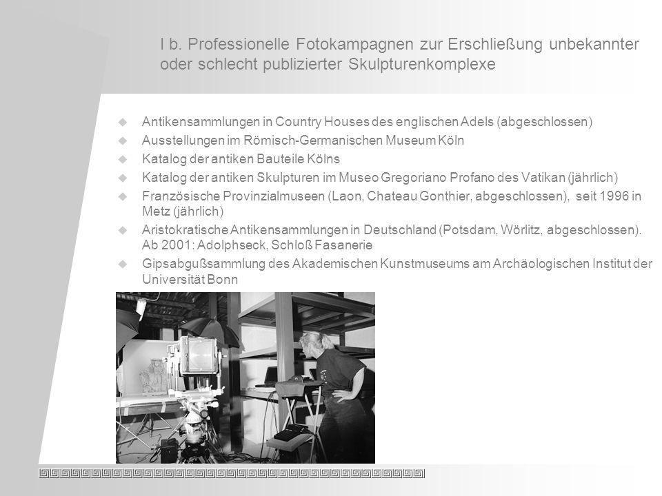 I c.Publikationen: Monumenta Artis Romanae. Laufende Publikationsprojekte: Prof.