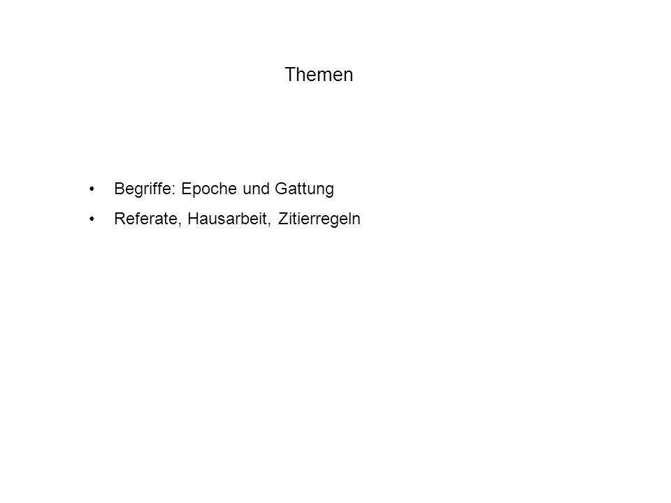 Zum Begriff der Epoche Zeitraum / Periode / historischer Abschnitt eingrenzend / abgrenzend Antike, Renaissance, Barock, Neuzeit, Moderne Konstrukt etc.